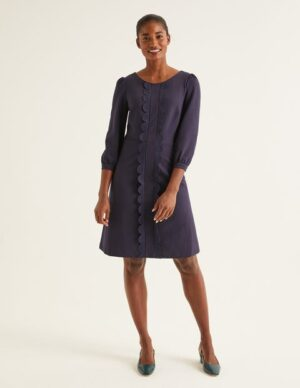 Alexandra Ponte Dress Navy Women Boden, Navy