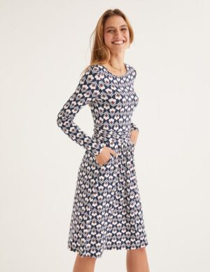 Abigail Jersey Dress Navy Women Boden, Ivory