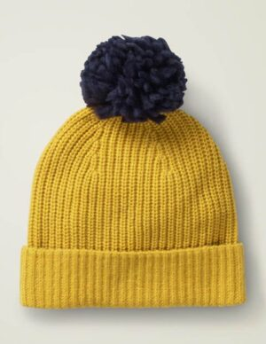 Chunky Rib Hat Yellow Women Boden, Navy
