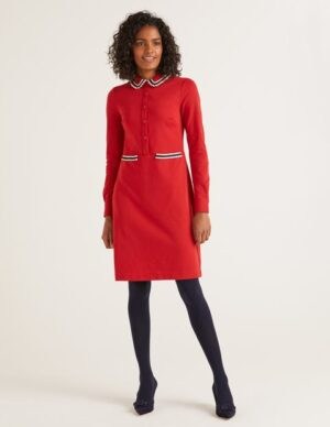 Amber Ponte Dress Red Women Boden, Red