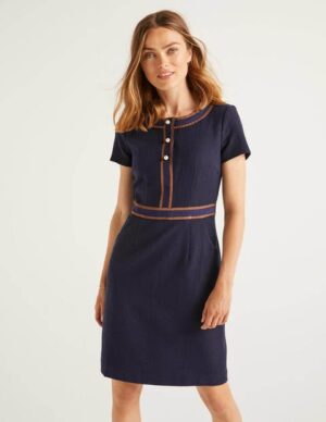Anna Textured Dress Navy Women Boden, Navy