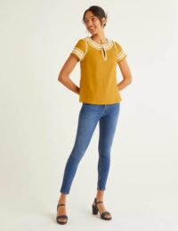 Laura Linen Embroidered Top Yellow Women Boden, Yellow