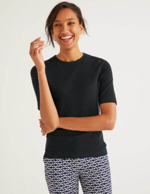 Abingdon Cotton Knitted Tee Black Women Boden, Black