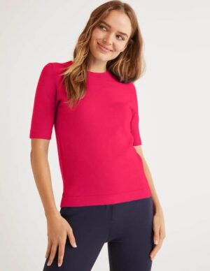 Abingdon Cotton Knitted Tee Pink Women Boden, Pink