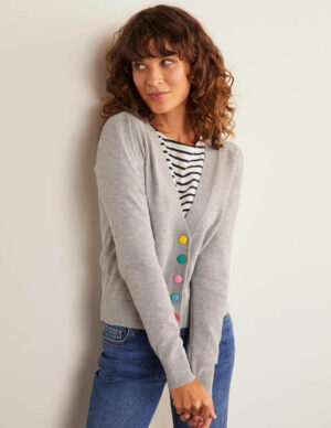 Allendale Button Cardigan Grey Women Boden, Grey