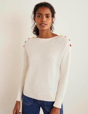 Allendale Button Jumper Ivory Women Boden, Ivory