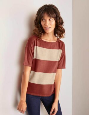 Berkeley Knitted Tee Pink Women Boden, Beige