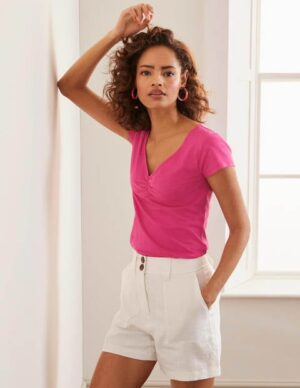 Julia Ruched V-neck T-shirt Pink Women Boden, Multicouloured