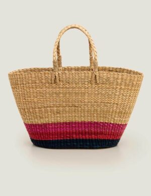 Ceres Straw Basket Bag Blue Women Boden, Navy