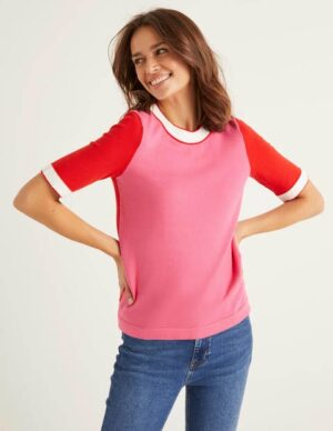 Abingdon Cotton Knitted Tee Pink Women Boden, Camel