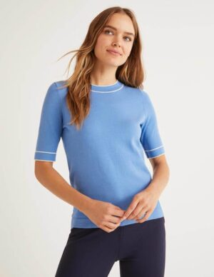 Abingdon Cotton Knitted Tee Blue Women Boden, Blue