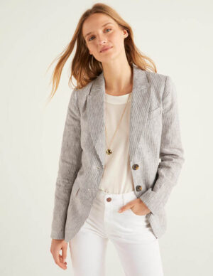 Carrington Linen Blazer Navy Women Boden, Multicouloured