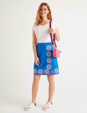 Anville Embroidered Wrap Skirt Blue Women Boden, Blue