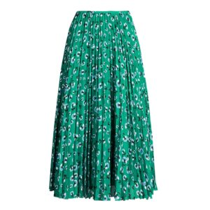 Juliette Pleated Midi Skirt - Green Carnation