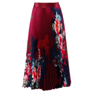 Floral Printed Pleated Skirt - Wine