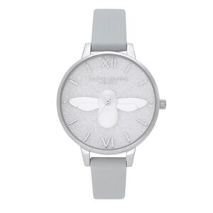 Glitter 3D Bee, Eco Demi Dial Watch - Light Grey & Silver