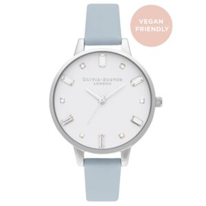 Bejewelled Vegan Friendly Big Dial Watch - Chalk Blue & Silver