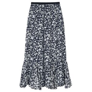 Ford Floral Silk Skirt - Blossom Navy