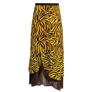 Keira Printed Maxi Skirt - Zebra Yellow & Brown