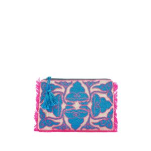 Beaded Patterned Clutch - Pink & Blue