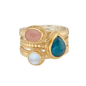 Appatite, Guava & Moonstone Faux Stacking Ring - Gold