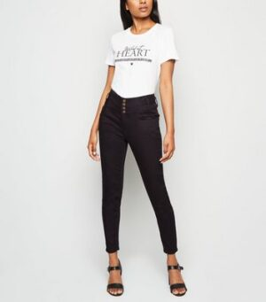 Petite Black 4 Button Skinny Jeans New Look