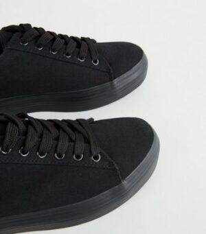 Black Canvas Lace Up Flatform Trainers New Look