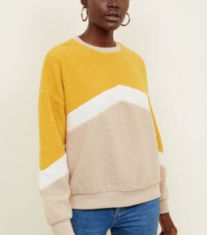 Yellow Chevron Stripe Teddy Sweatshirt New Look