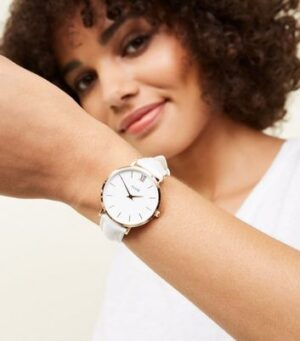 Cluse White Leather Strap Minuit Watch New Look