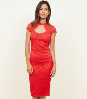 AX Paris Red Lace Cut Out Bodycon Dress New Look