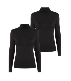 Petite 2 Pack Black Roll Neck Tops New Look