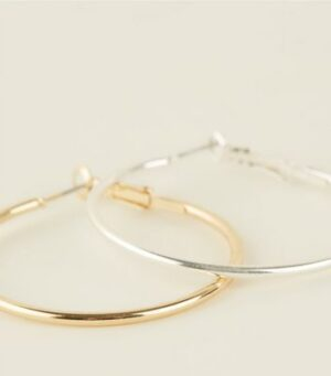 2 Pack Gold and Silver Hoop Earrings New Look