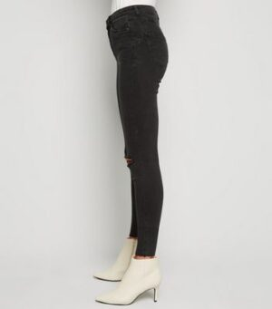 Black 'Lift & Shape' Ripped Skinny Jeans New Look