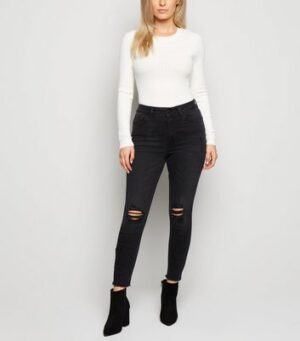 Petite Black 'Lift & Shape' High Rise Ripped Jeans New Look