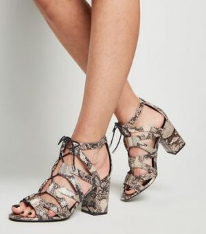 Wide Fit Stone Faux Snake Ghillie Block Heels New Look
