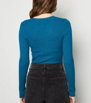 Teal Ribbed Crew Neck Jumper New Look