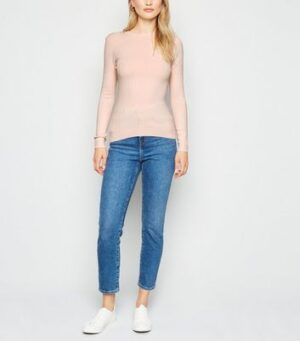 Pale Pink Ribbed Crew Neck Jumper New Look