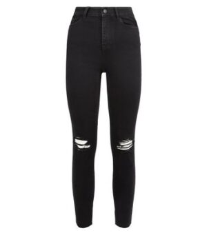 Black 'Lift & Shape' Ripped Knee Skinny Jeans New Look