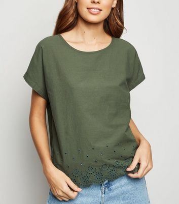 JDY Khaki Scallop Broderie Hem Top New Look
