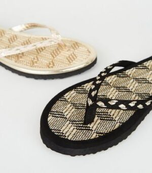 2 Pack Black and Cream Raffia Flip Flops New Look