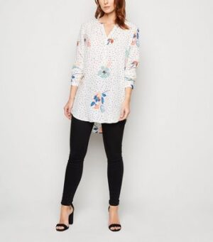 JDY White Floral and Spot Long Shirt New Look