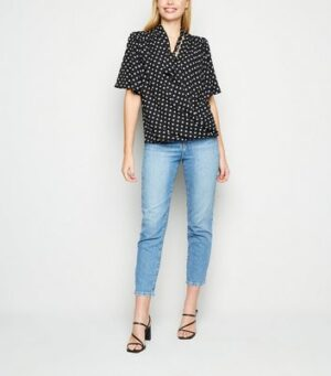 Black Spot Tie Neck Wrap Blouse New Look