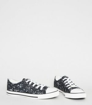 Black Canvas Leopard Print Lace Up Trainers New Look Vegan