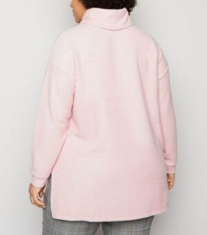 Curves Pink Fine Knit Roll Neck Jumper New Look
