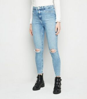 Blue Ripped Super Skinny Hallie Jeans New Look