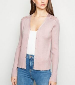 Pale Pink Lace Back Cardigan New Look