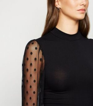 Black High Neck Spot Mesh Sleeve Top New Look