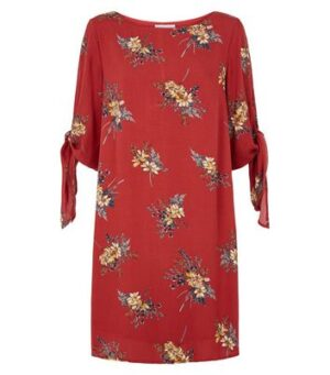 Apricot Red Floral Tie Sleeve Shift Dress New Look