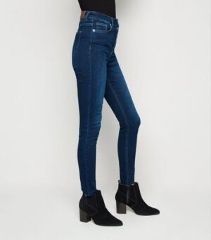 NA-KD Blue Skinny High Waist Raw Hem Jeans New Look