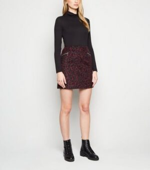Burgundy Brushed Leopard Print Mini Skirt New Look